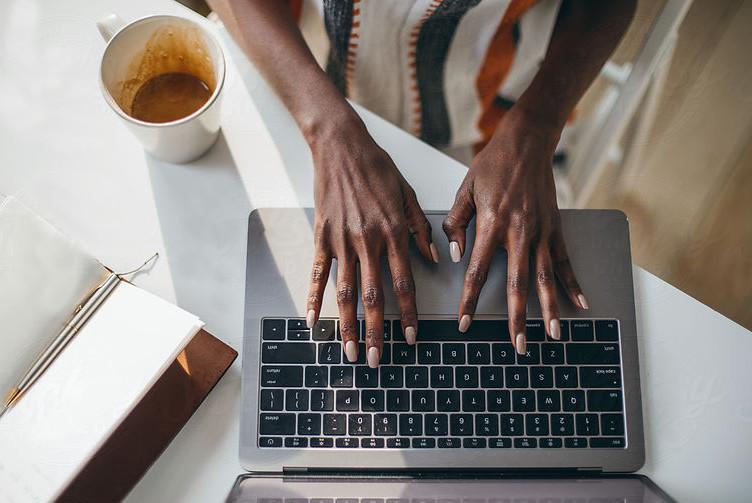 black woman typing