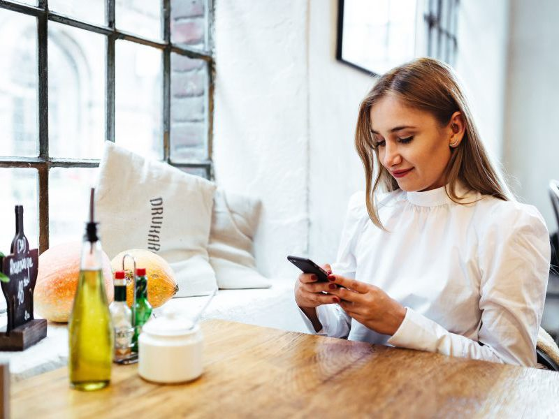 young woman checking email