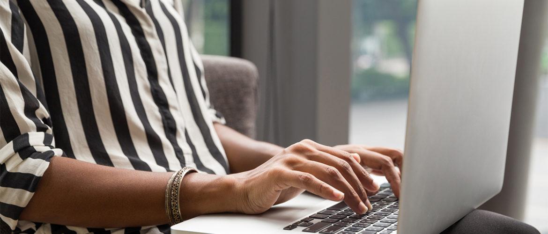black woman at laptop